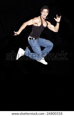 Attractive Man Posing in the Air - stock photo