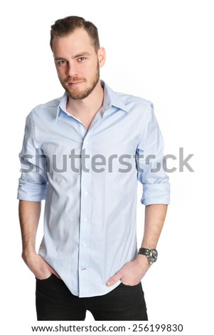 Attractive man standing with a white white background wearing a blue shirt, feeling great! - stock photo