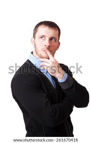 Attractive man thoughtfully rubbing his chin, isolated on white background - stock photo