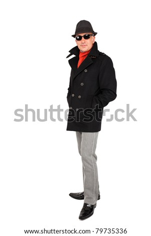 Attractive man wearing a pea coat