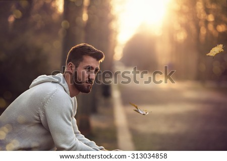 Attractive man with beard is sitting in a park at sunset - stock photo