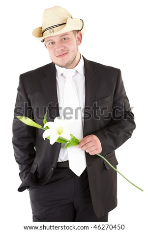 Attractive  man with flower. Isolated over white. - stock photo