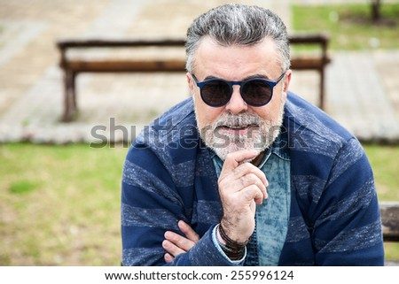 Attractive man 50 years old with beard  - stock photo