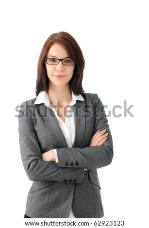 Attractive manageress with arms folded - stock photo