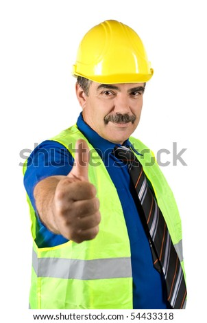 Attractive mature engineer man with hard hat giving thumbs -up  isolated on white background