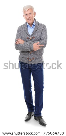 Attractive mature man in casual clothes on white background