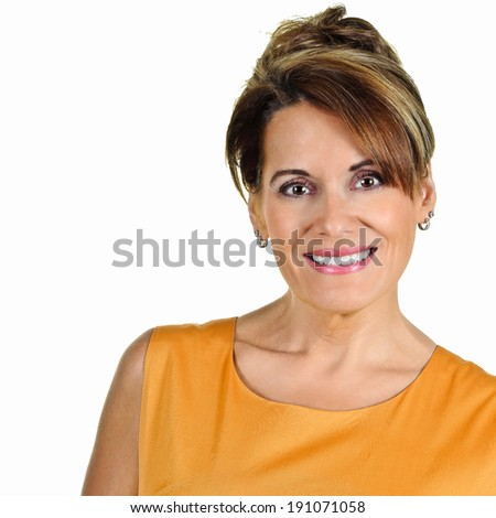 Attractive Mature Woman in Orange Summer Dress - stock photo