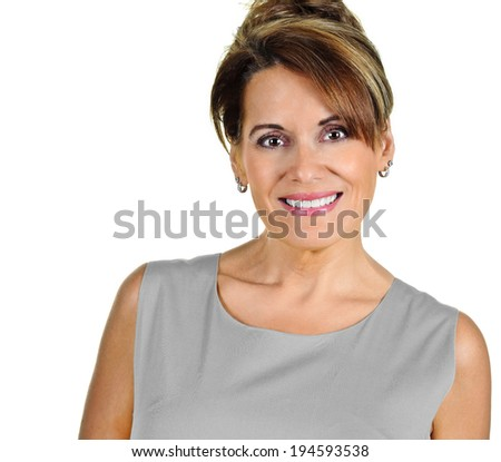 Attractive Mature Woman wearing a Grey Dress - stock photo