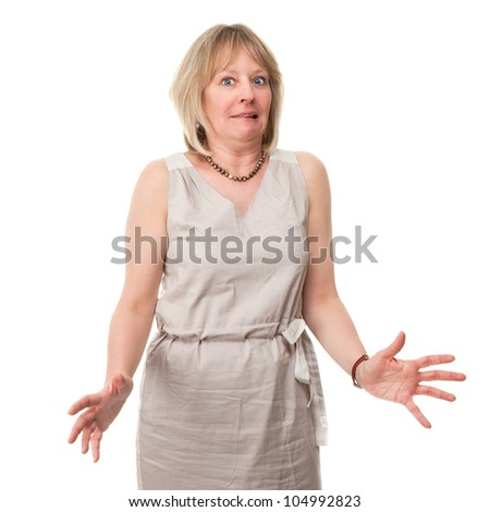 Attractive Mature Woman with Scared Expression Holding Hands Out Isolated