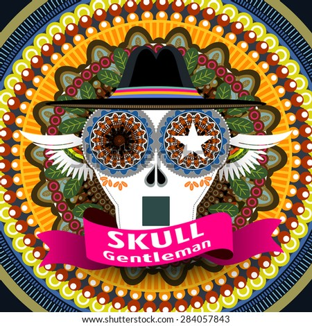 attractive Mexican skull gentleman cover design with colorful background