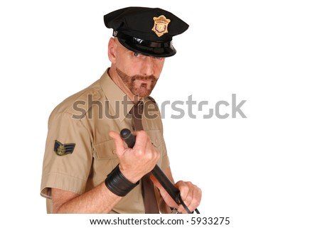 Attractive, mid fifties bearded police officer wearing kepi holding stick, Law,  security, protection concept - stock photo