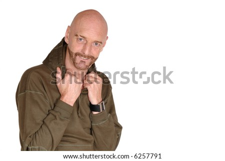Attractive, mid fifties bearded, smiling middle aged man.  Casual dressed. - stock photo