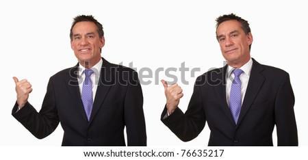 Attractive Middle Age Business Man Gesturing Get Out Two Ways