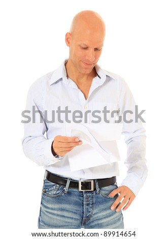 Attractive middle age man reading a letter. All on white background. - stock photo