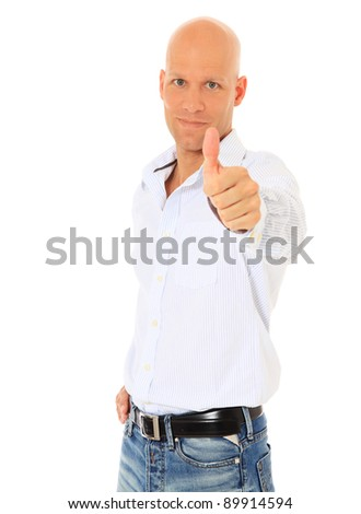Attractive middle age man showing thumbs up. All on white background. - stock photo