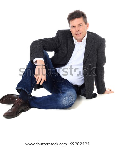 Attractive middle-aged man. All on white background.