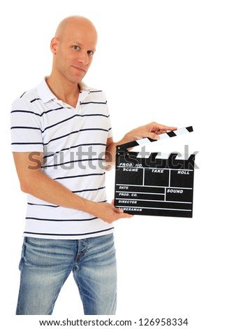 Attractive middle aged man holding clapperboard. All on white background. - stock photo