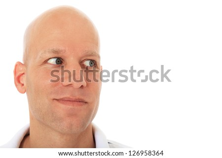 Attractive middle aged man looking to the side. All on white background.
