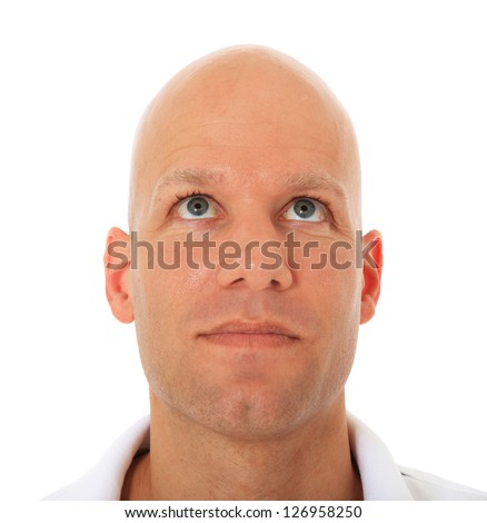 Attractive middle aged man looking up. All on white background. - stock photo
