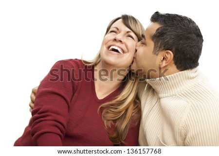 Attractive Mixed Race Couple Kissing Isolated on a White Background. - stock photo