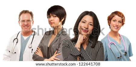 Attractive Mixed Race Ethnic Women with Doctors or Nurses Isolated on a White Background. - stock photo