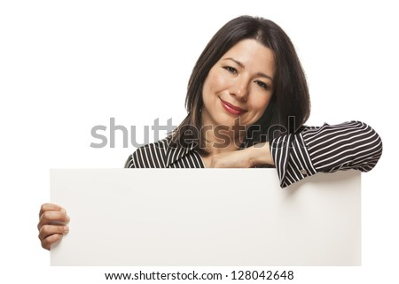 Attractive Mixed Race Woman Holding Blank White Sign Isolated on a White Background. - stock photo