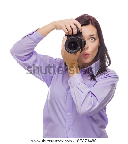 Attractive Mixed Race Young woman With DSLR Camera Isolated on a White Background. - stock photo