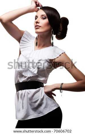 attractive model posing over white background - stock photo