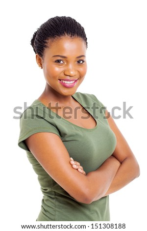 attractive modern african american woman over white background - stock photo