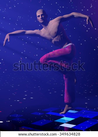 Attractive modern male dancer on blue lighting stage in expressive pose. 3d illustration.