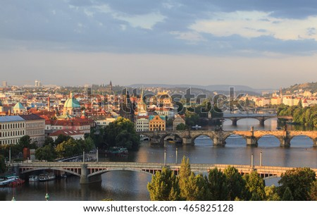 Attractive morning view of Prague bridges and old town , Czech Republic