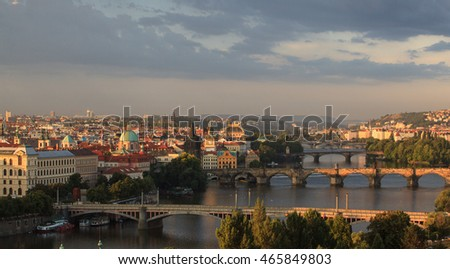 Attractive morning view of Prague bridges and old town, Czech Republic