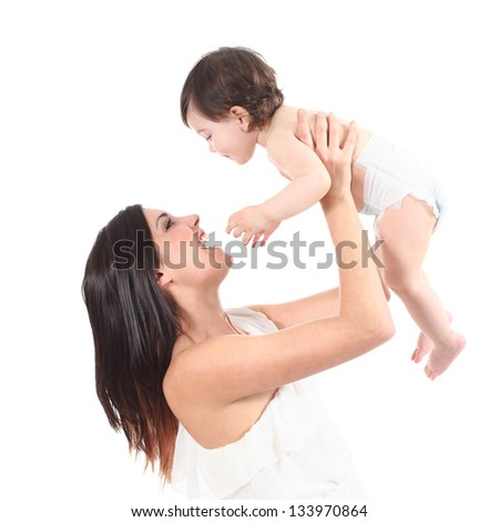 Attractive mother laughing and raising her daughter isolated on a white background