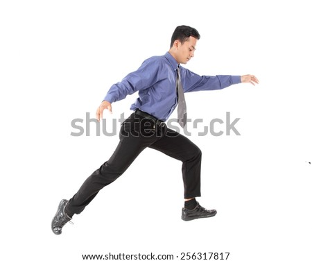 attractive of businessman jumping