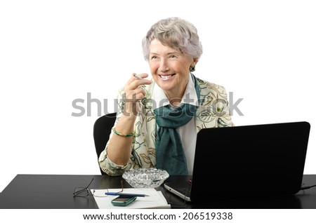 Attractive old office woman asking lighter
