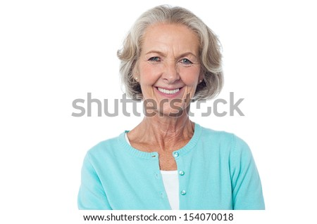 Attractive old woman, pretty smiling face. - stock photo