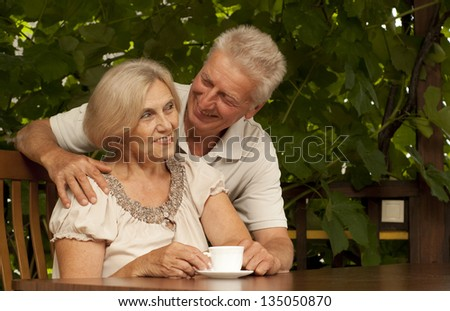 Attractive older couple sitting at a table at home on the veranda - stock photo