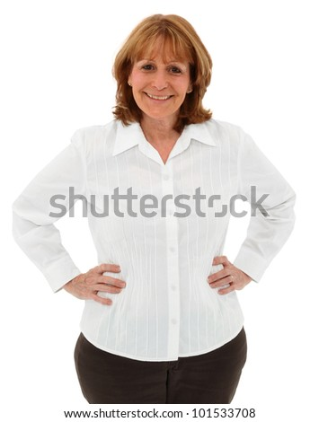 Attractive Older Female Standing With Hands On Hips Isolated On White Background - stock photo