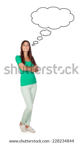 Attractive pensive girl isolated on a white background - stock photo