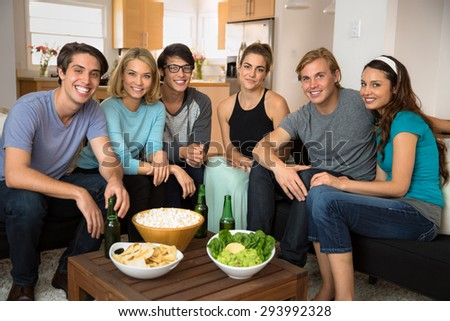 Attractive portrait group of friends get together to celebrate for fun time at home party - stock photo