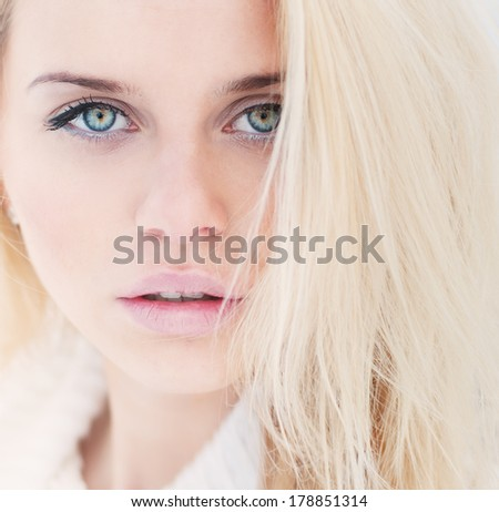 attractive portrait of a beautiful blonde - stock photo