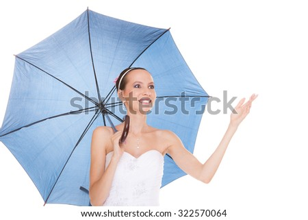 stock photo attractive pretty bride woman in white wedding dress holding blue umbrella happy smiling young 322570064 Swift Systems For Real Brides In The Usa