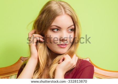 Attractive pretty young woman. Charming glamorous blonde girl. - stock photo