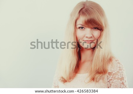 Attractive pretty young woman girl. Portrait of gorgeous blond female. Instagram filter. - stock photo