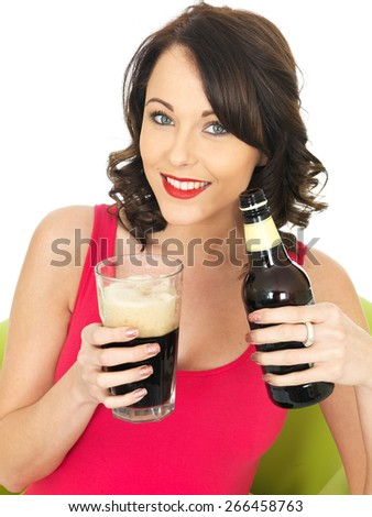 Attractive Relaxed Young Woman Drinking Beer