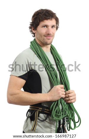 Attractive rock climber posing with harness and cord isolated on a white background