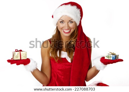 attractive santa woman with box