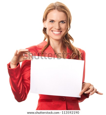 Attractive Secretary on white background with white blank paper