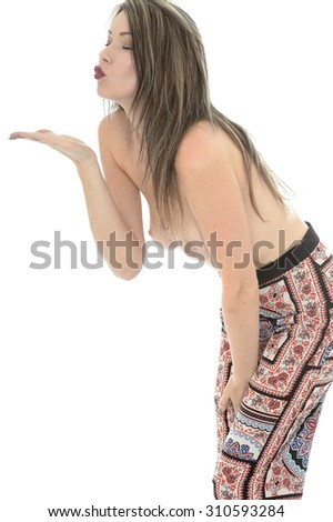Attractive Seductive Young Sexy Topless Pin Up Model Wearing Hippy Pants - stock photo