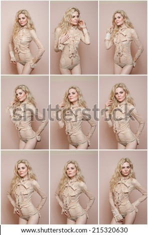 Attractive sexy blonde in nude tight fit blouse and bikini posing provocatively . Portrait of sensual woman in classic blouse with long sleeves and ribbon against a wall. Beautiful fair hair female - stock photo